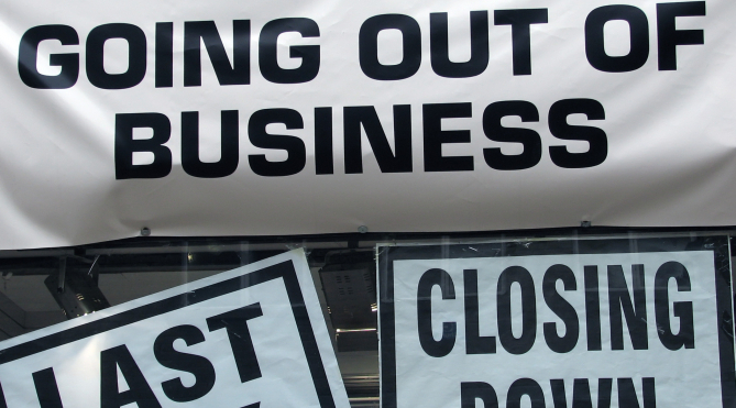 Business Closure - Closing Down Sign